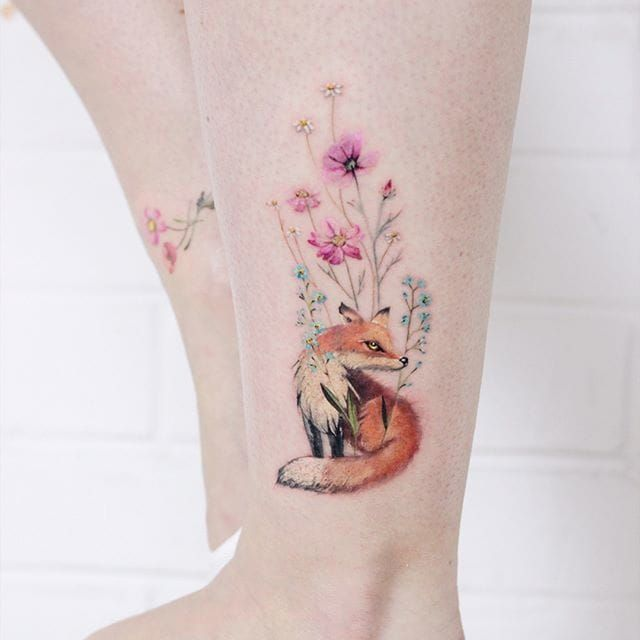 Tattoodo Little Fox And Flowers By Lena Fedchenko Lenafedchenko Lena Fedchenko Moscow Small Little Fox Flowe Autumn Tattoo Fox Tattoo Small Fox Tattoo