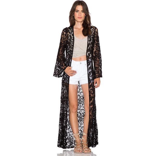sky Monsif Lace Kimono Jackets & Coats (£58) ❤ liked on Polyvore featuring outerwear, coats, coats & jackets, black lace coat, kimono coat, lace coat, black kimono and black lace kimono