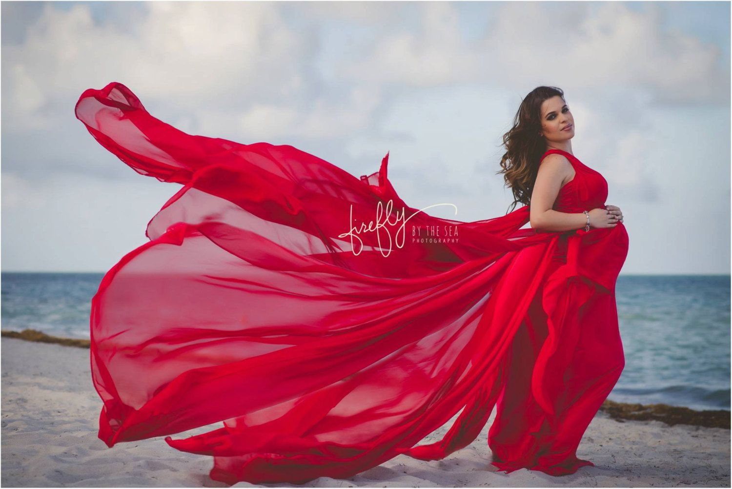 Infinity jersey maternity gown dress photo prop red by