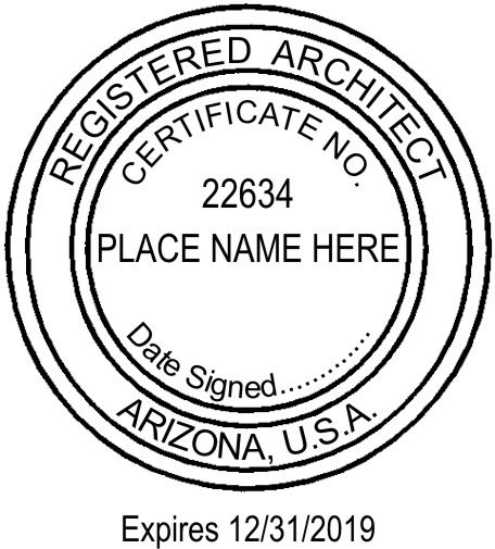 #Arizona architects may use either a stamp or an #embosser as their #seal.  Must include date signed, but the expiration date is optional.