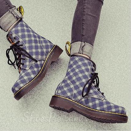 Checked Denim Flat Boots