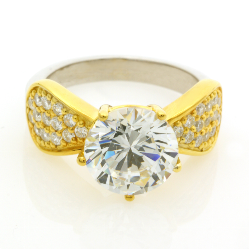 The ring from our Peranakan Designer Collection http://www.gordonmax.com/collections/peranakan-collection/products/peranakan-collection-peranakan-ring in ring-sizes 8-18 (today at USD $529.00) - White/Yellow with 925/18K Gold Finish - #gordonMax #Peranakan #Designer #Collection #Diamond #Simulant #Ring