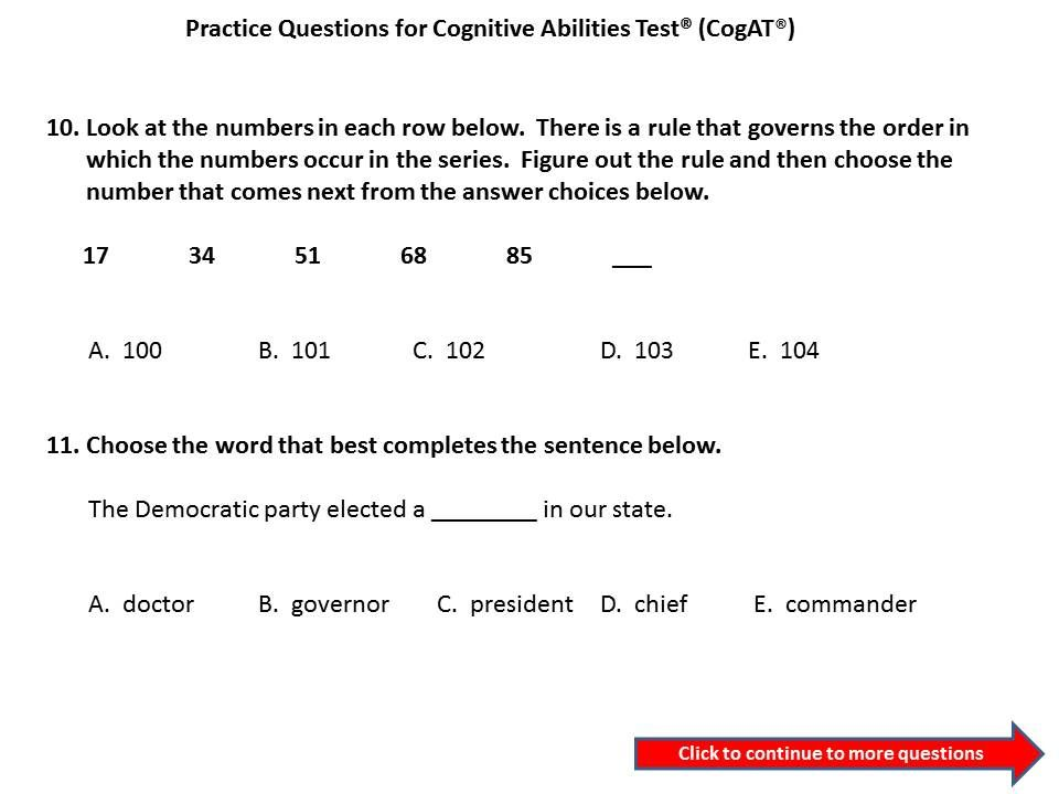 CogAT Practice Questions For 3rd To 4th Grade Cognitive