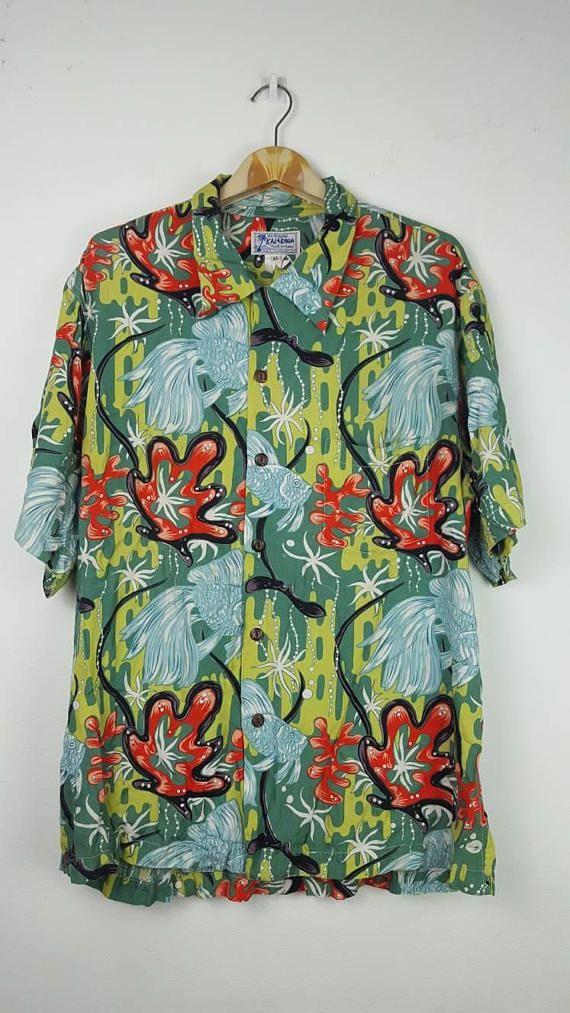 6dbd7ed9f Vintage RARE KALAKAUA RAYON made in hawaii button down fullprint gold fish  shirt | Vintage Fashion | Fishing shirts, Aloha shirt, Vintage hawaiian