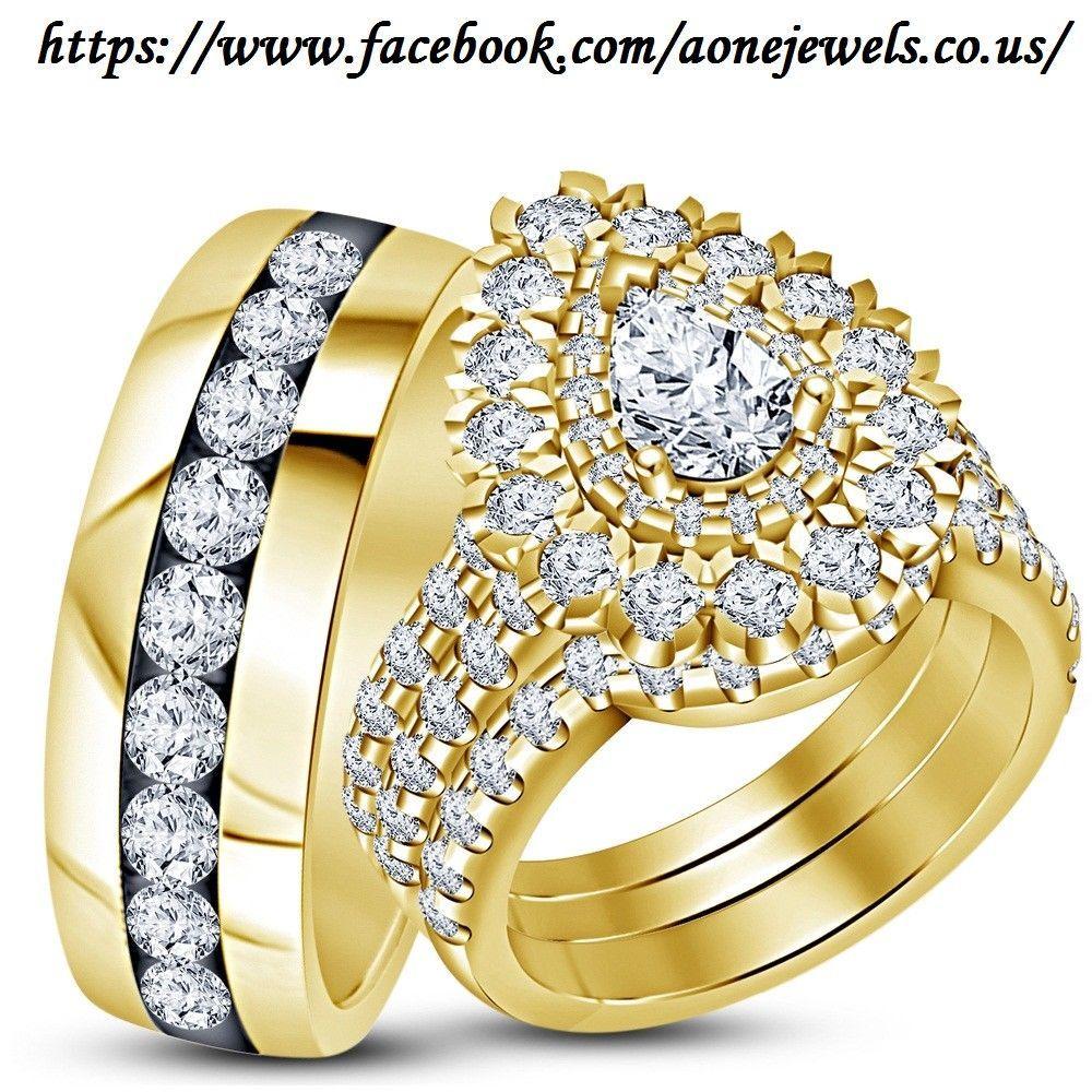 14K Yellow Gold Diamond Wedding Trio His And Her Bridal