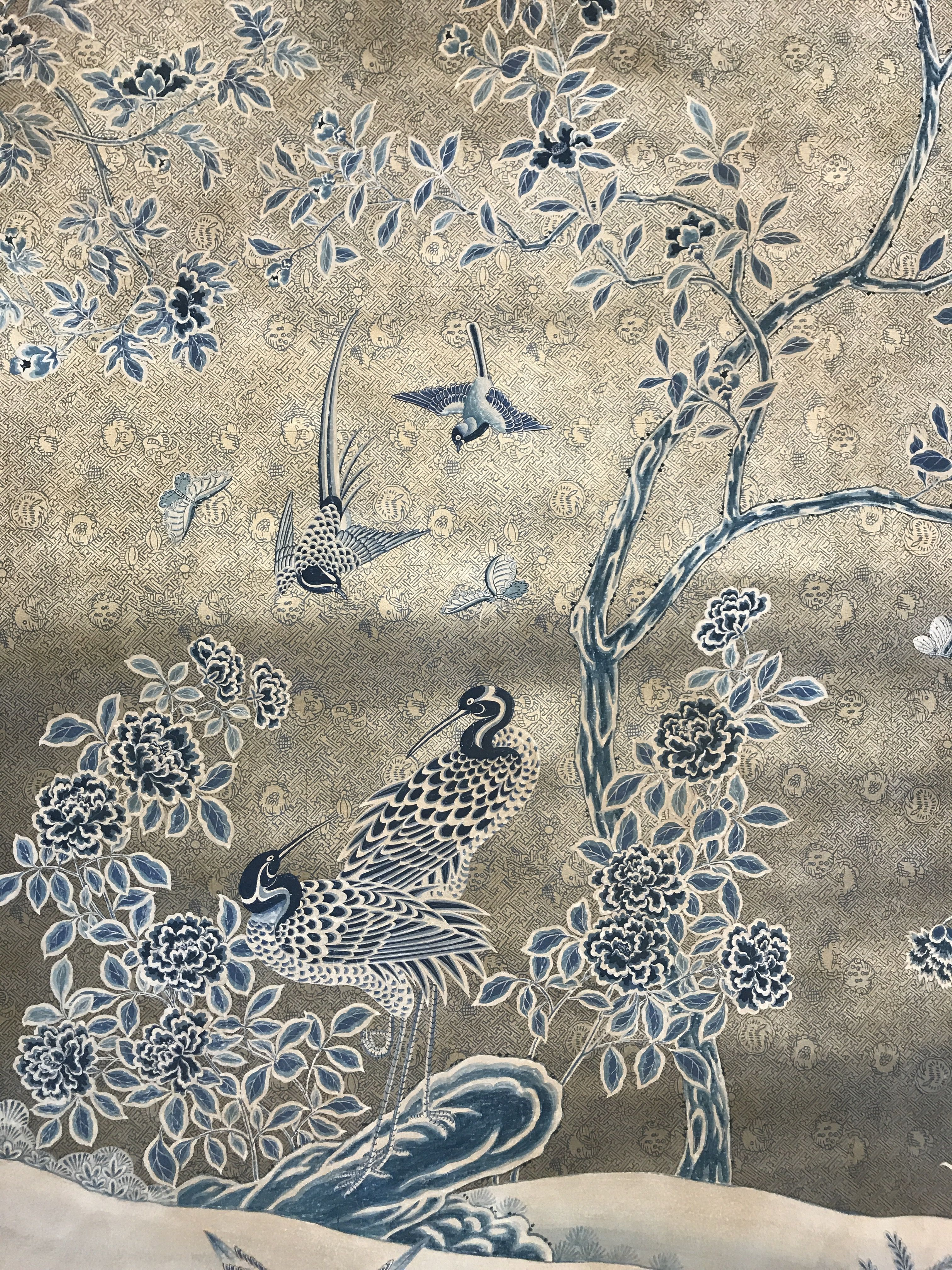 Our new Lapis Garden handpainted wallpaper, in bold blue