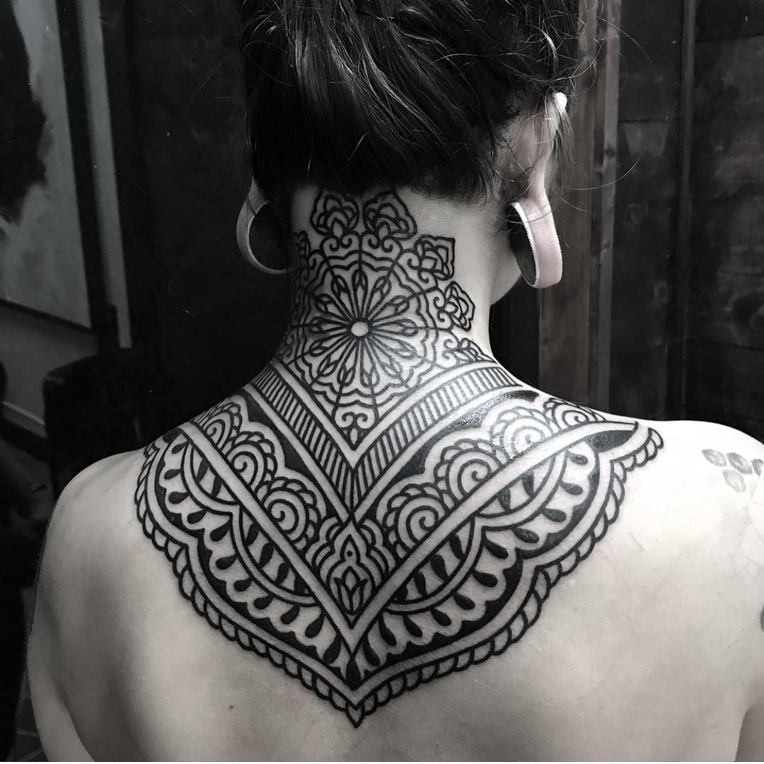 50 Of The Most Beautiful Mandala Tattoo Designs For Your Body Soul Back Of Neck Tattoo Neck Tattoos Women Tribal Neck Tattoos