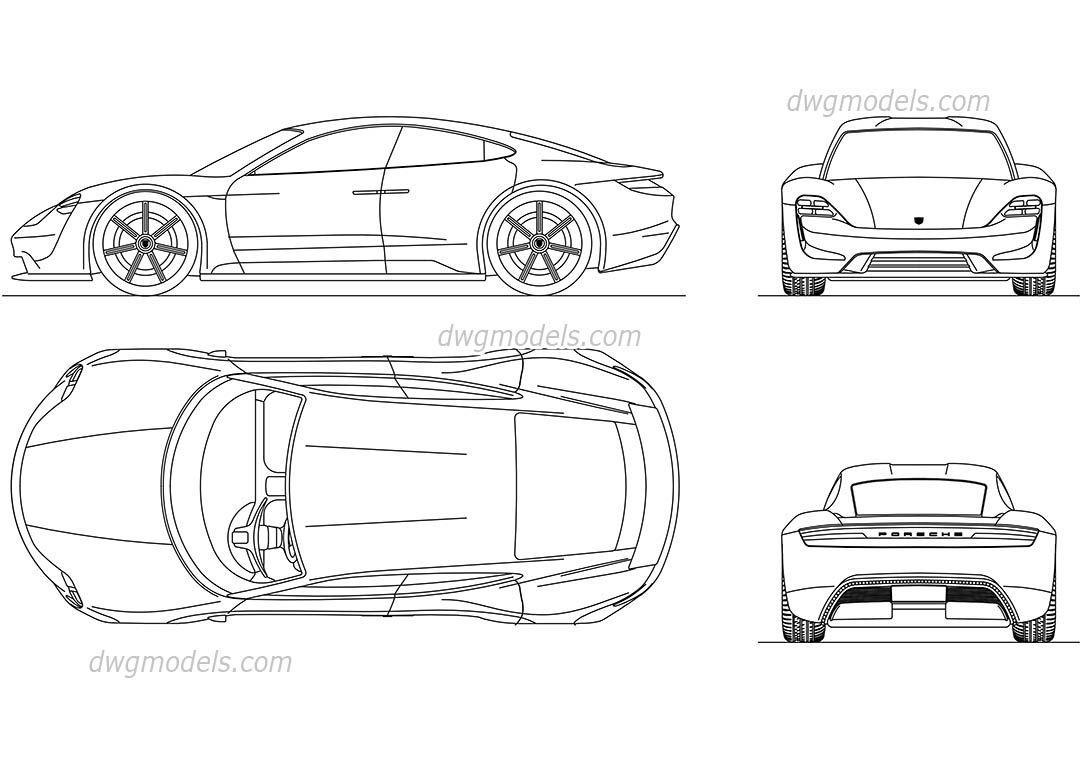 Porsche mission e cad blocks free dwg file cars - Voiture autocad ...
