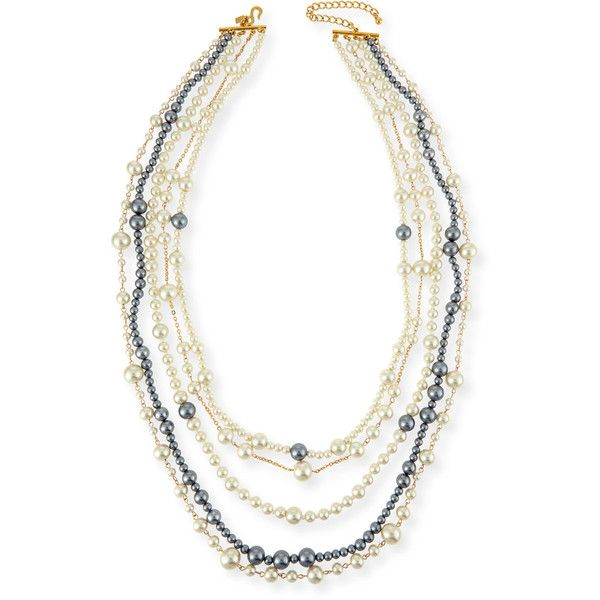 Kenneth Jay Lane Multi-Strand Pearly Bead Necklace t4meATT