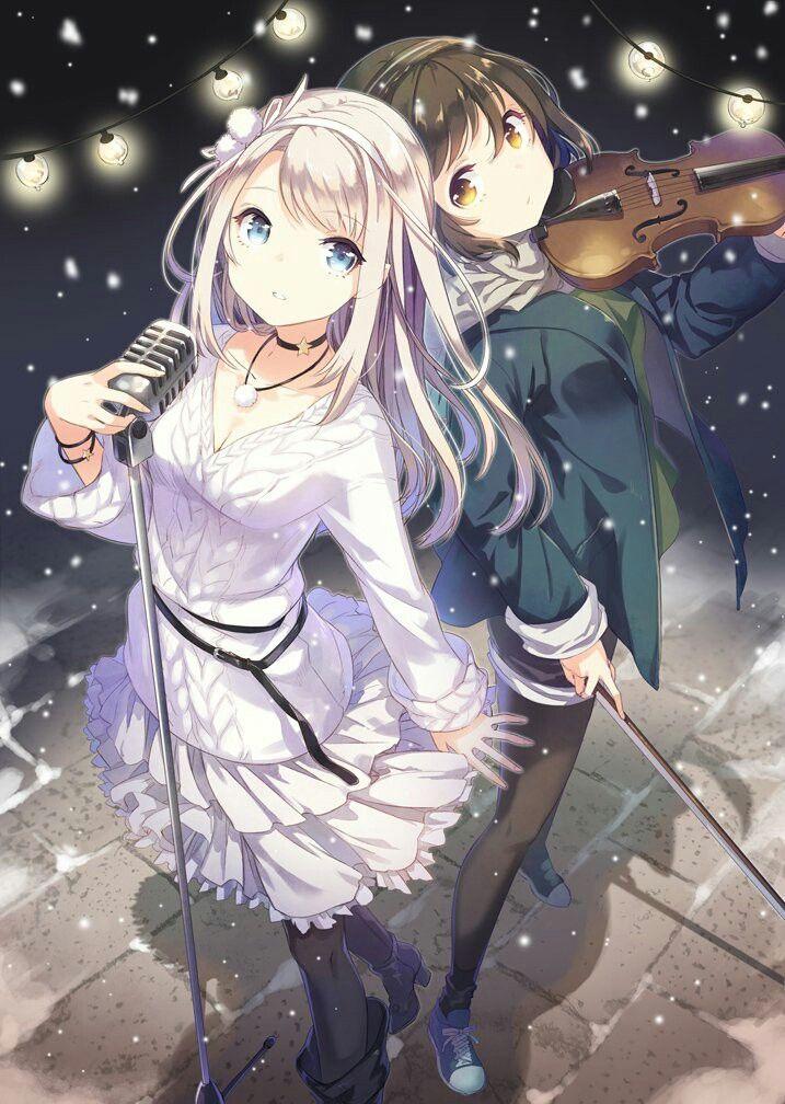 Two Anime Girls Singing Playing Violin Anime Friend Anime Anime Music