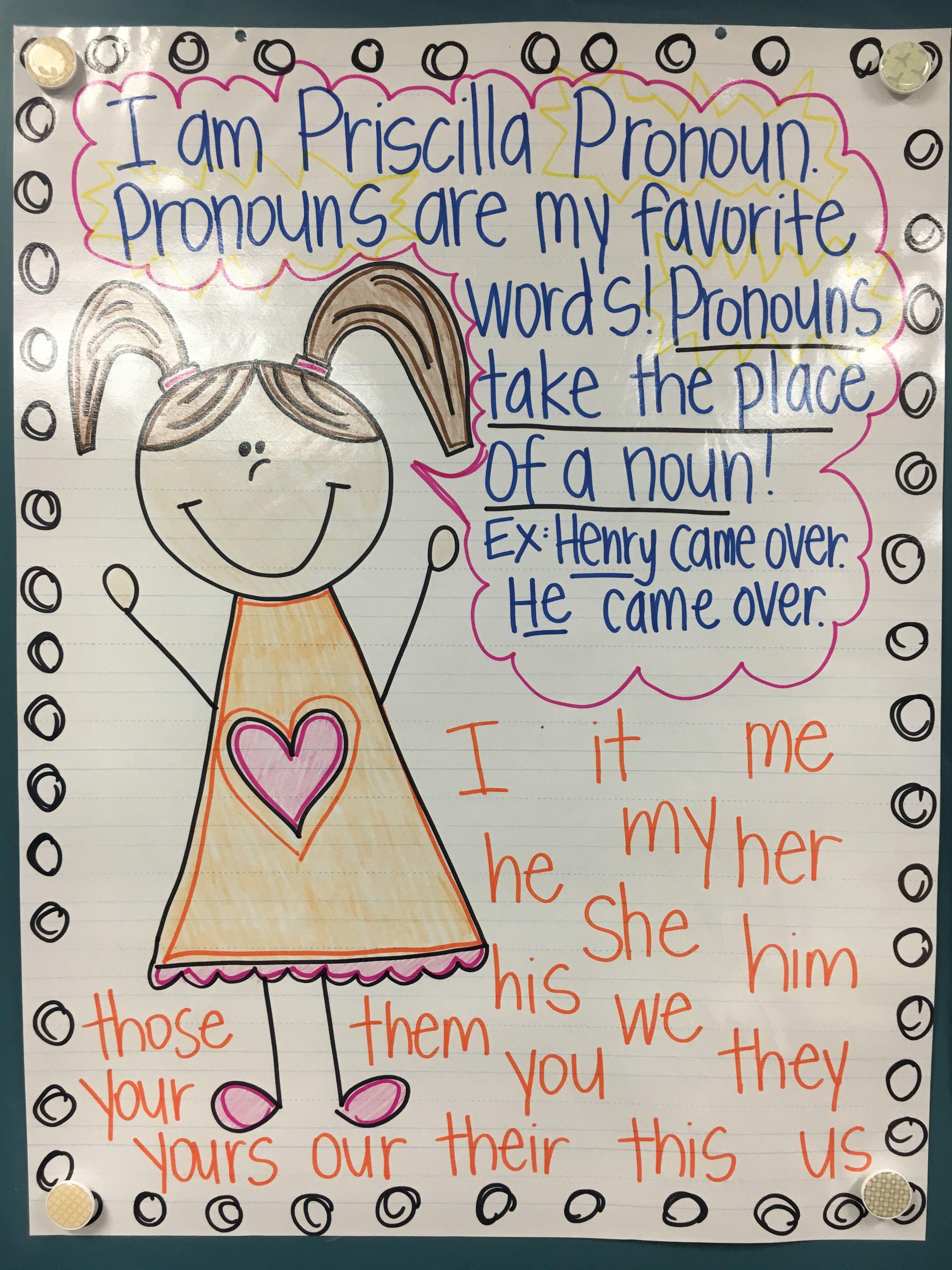 Priscilla Pronoun anchor chart First Grade