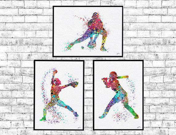 Special Offer Set of 3 Baseball Softball Watercolor by ArtsPrint