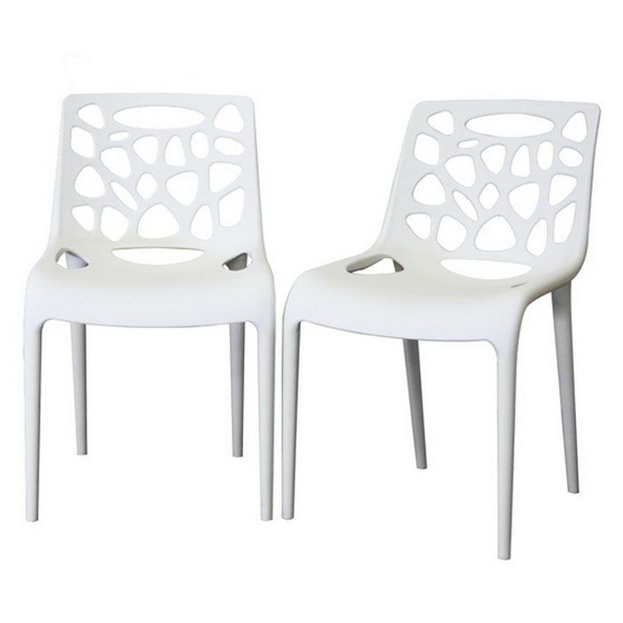 Quindel Stackable White Plastic Modern Dining Chair Modern