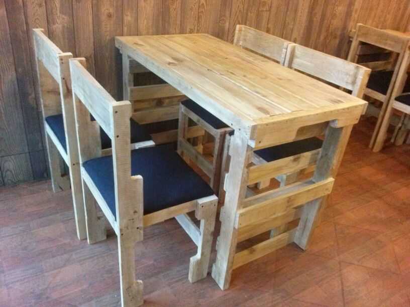 Mesas de palets y sillas ra l palets pinterest - Mesa de palets ...