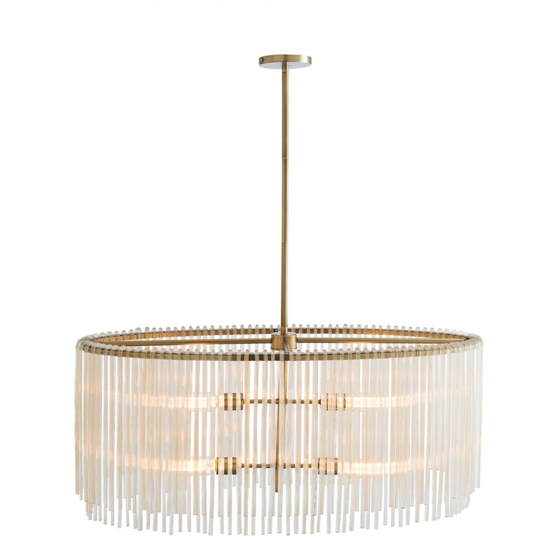 Royalton Oval Chandelier in Antique Brass with Amber Glass