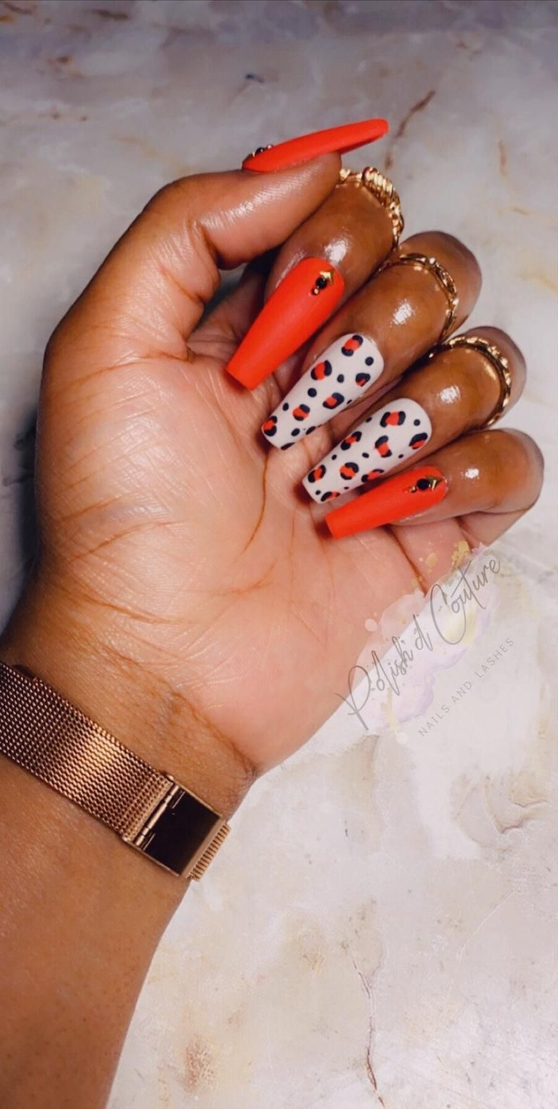 Red Leopard Print Press On Nails Press On Nails Glue On Etsy In 2020 Glue On Nails Leopard Print Nails Best Acrylic Nails