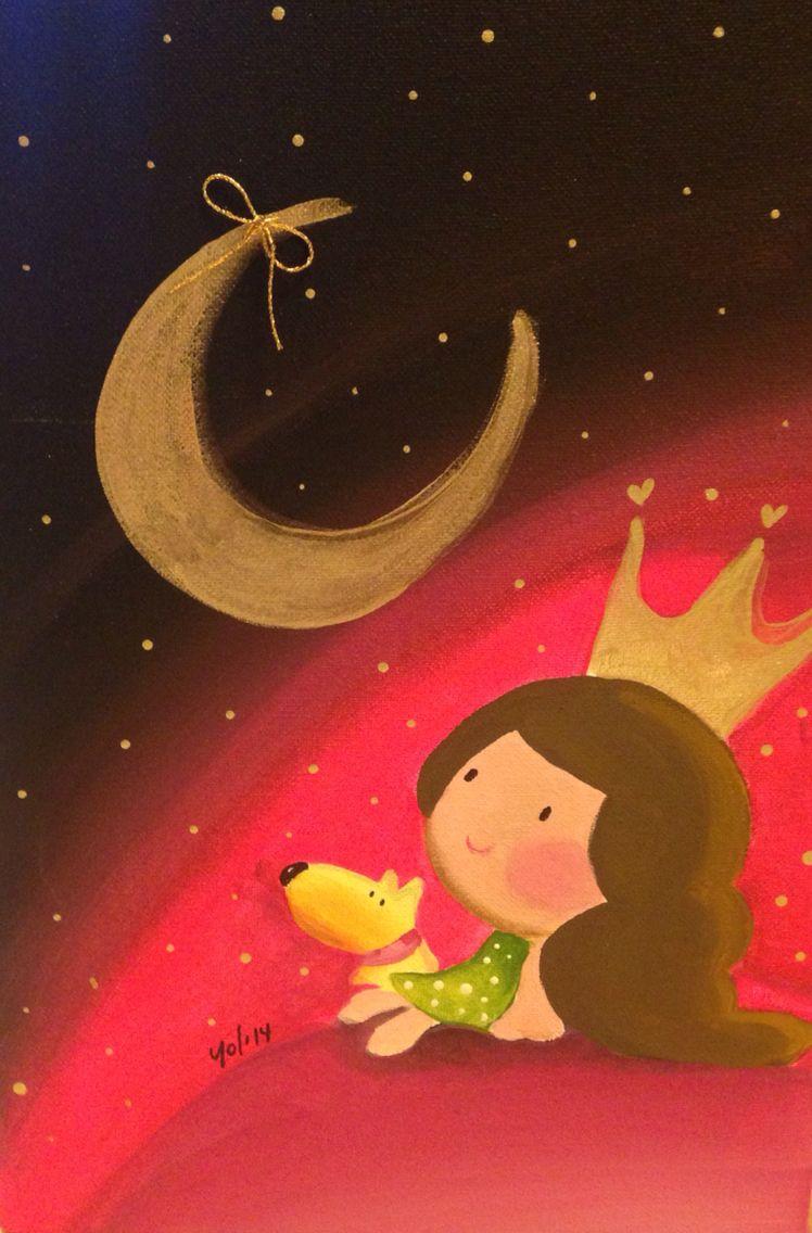 Cuadro niña y luna by Yol