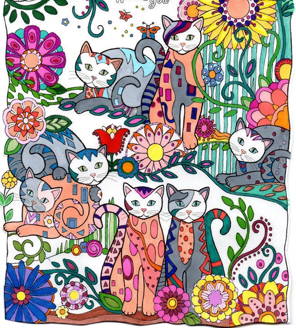 Original drawing from creative cats by marjorie sarnat drawing on