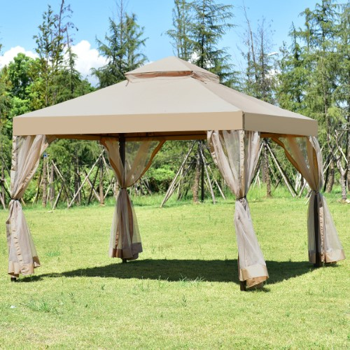 Costway Outdoor 2 Tier 10 X10 Gazebo Canopy Shelter Awning Tent Patio Garden Brown Gazebo Canopy Canopy Tent Outdoor Patio Garden