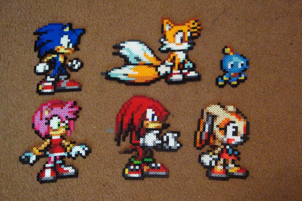 Perler Sonic Collection Sonic Tails Knuckles Amy Cream And