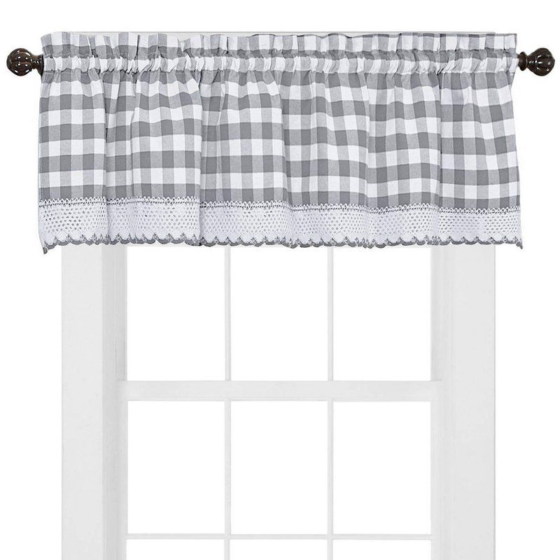 Bellavia Country Plaid With Macrame Border 58 Window Valance