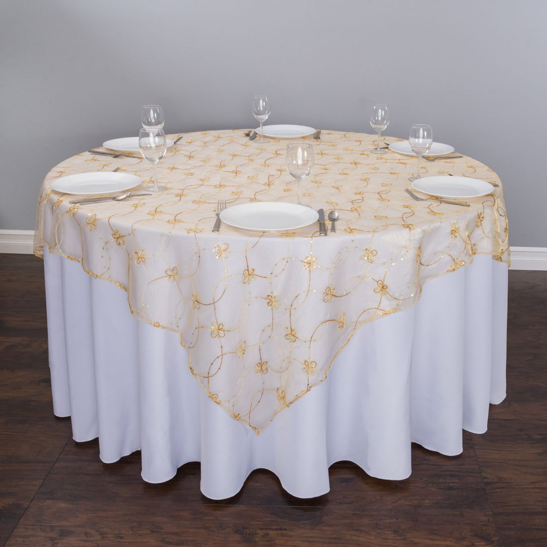 85 In Wildflower Embroidered Organza Overlay Gold Table Overlays