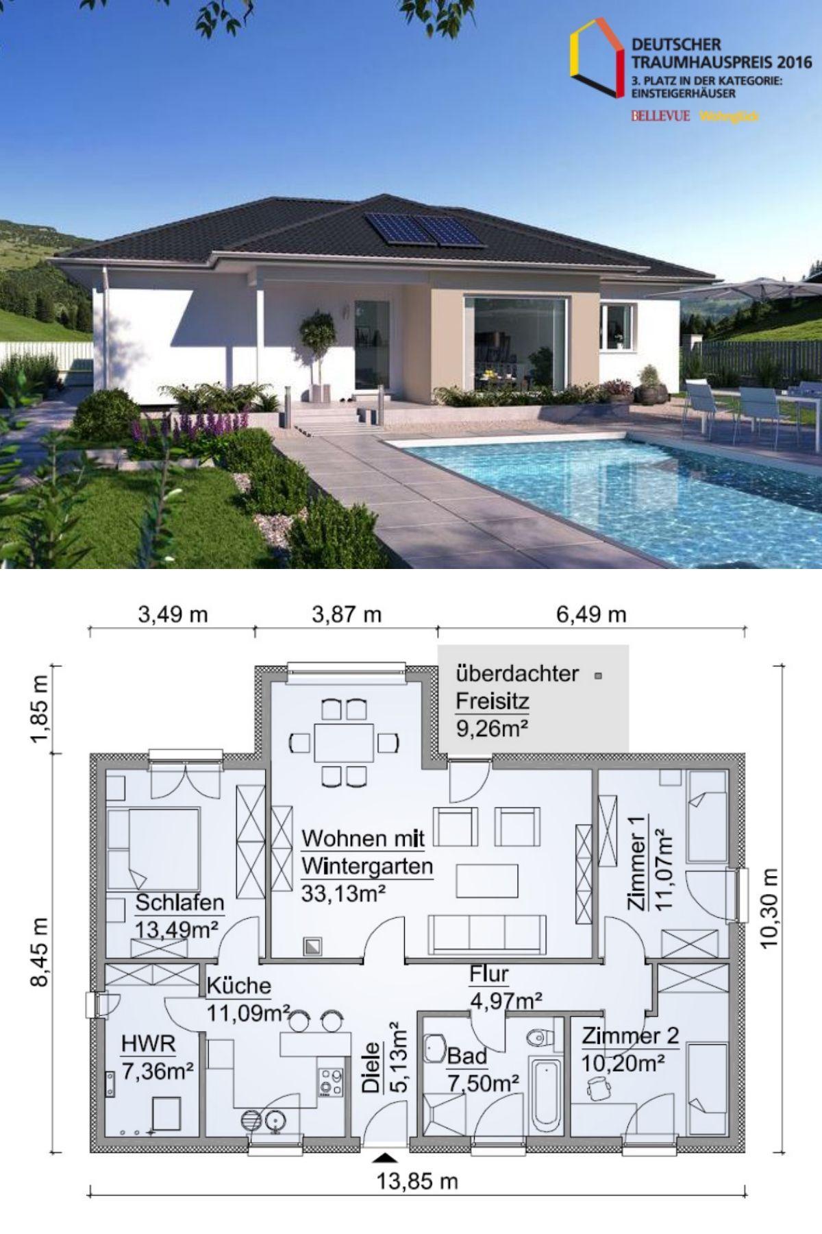 Gundriss Bungalow Haus Mit Garage Amp Pultdach Architektur Versetzt