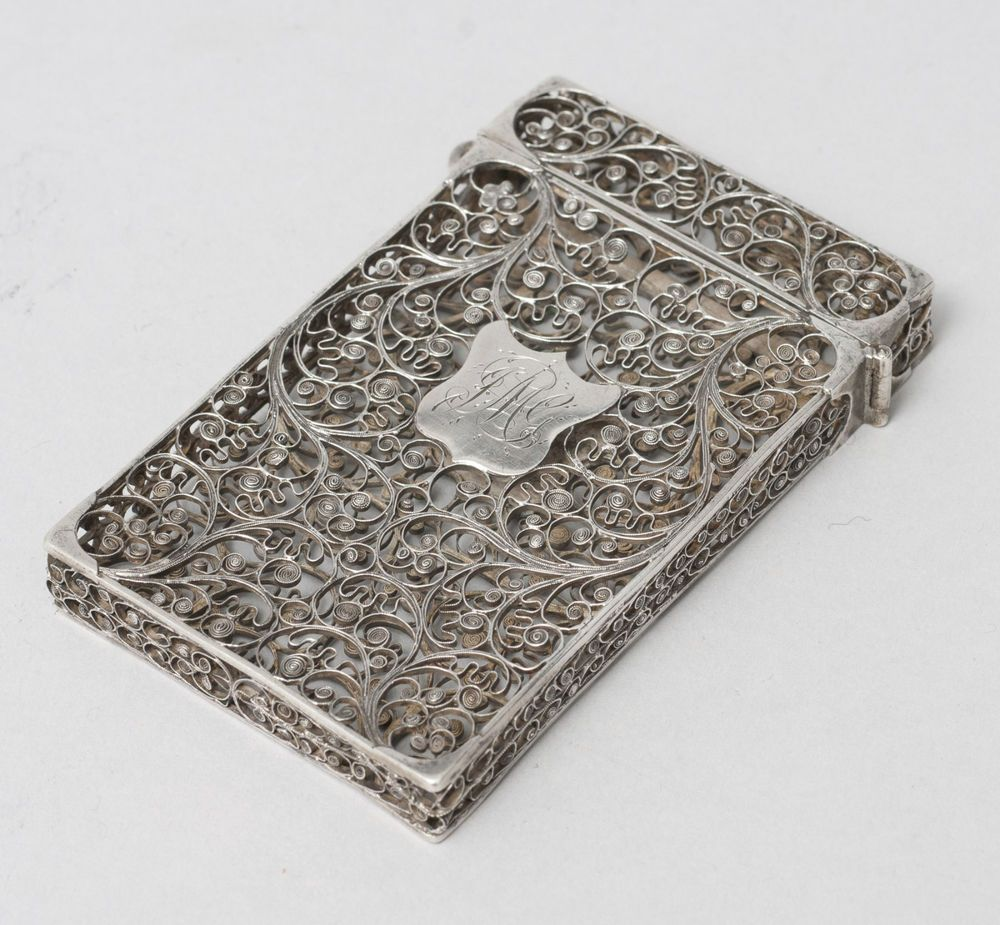 Antique Indian Goan Silver Filigree Wire Calling Card Case c1860 ...