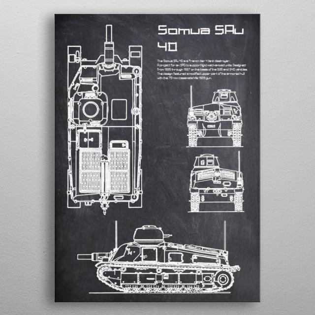 Somua SAu 40 by FARKI15 DESIGN | metal posters - Displate | Displate thumbnail