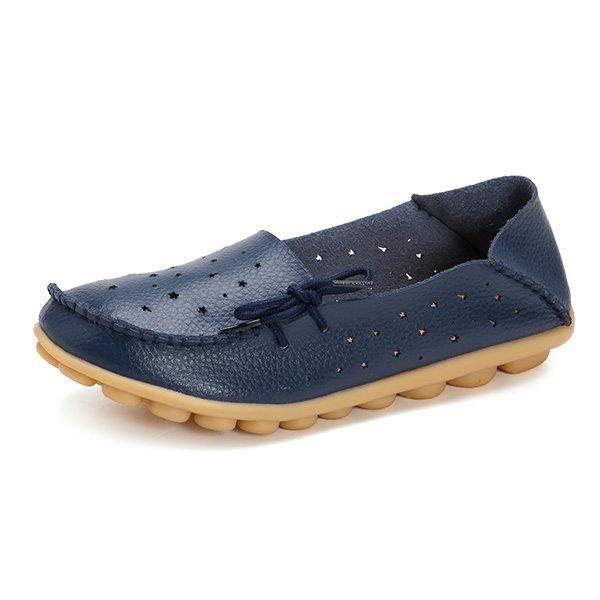 Grande Taille Évider Étoile Lacer Cuir Souple Chaussures Multivoies 3Oid8