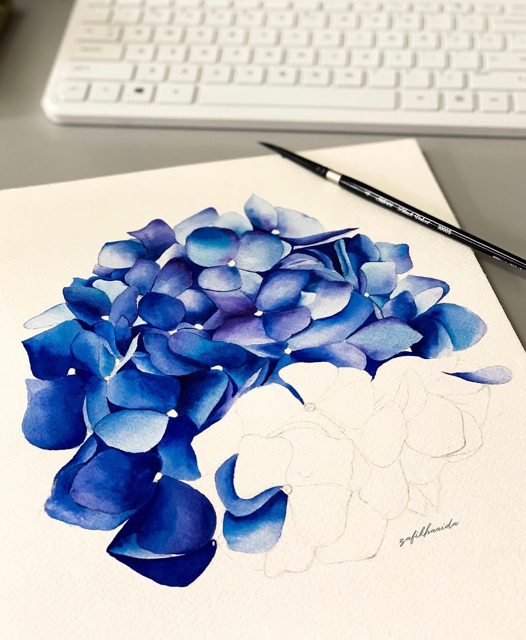 Zafikha Aida On Instagram First Attempt Painting Realistic Hydrangeas After 1 Year And 5 Months P Hydrangea Painting Art Tutorials Watercolor Flower Painting