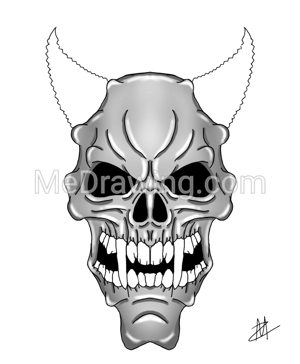 Purple Zombie Demon Skull Black And White Drawing Black And White Drawing Colorful Drawings Skull