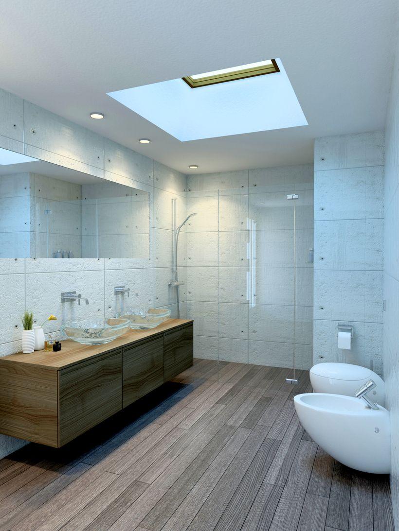 Ba o con lucernario 0 3d pinterest ba o ba os y for Banos interiores decoracion
