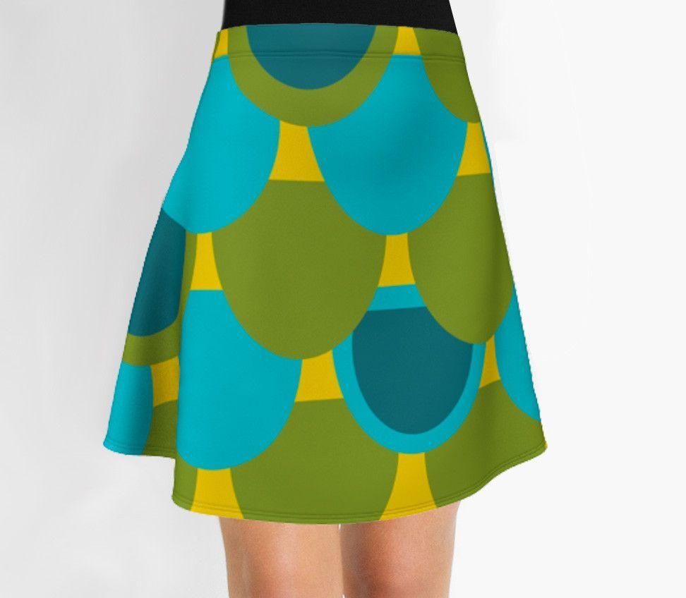 Green and blue Skirt - Flare Skirt - Modern Skirt - Designer Skirt
