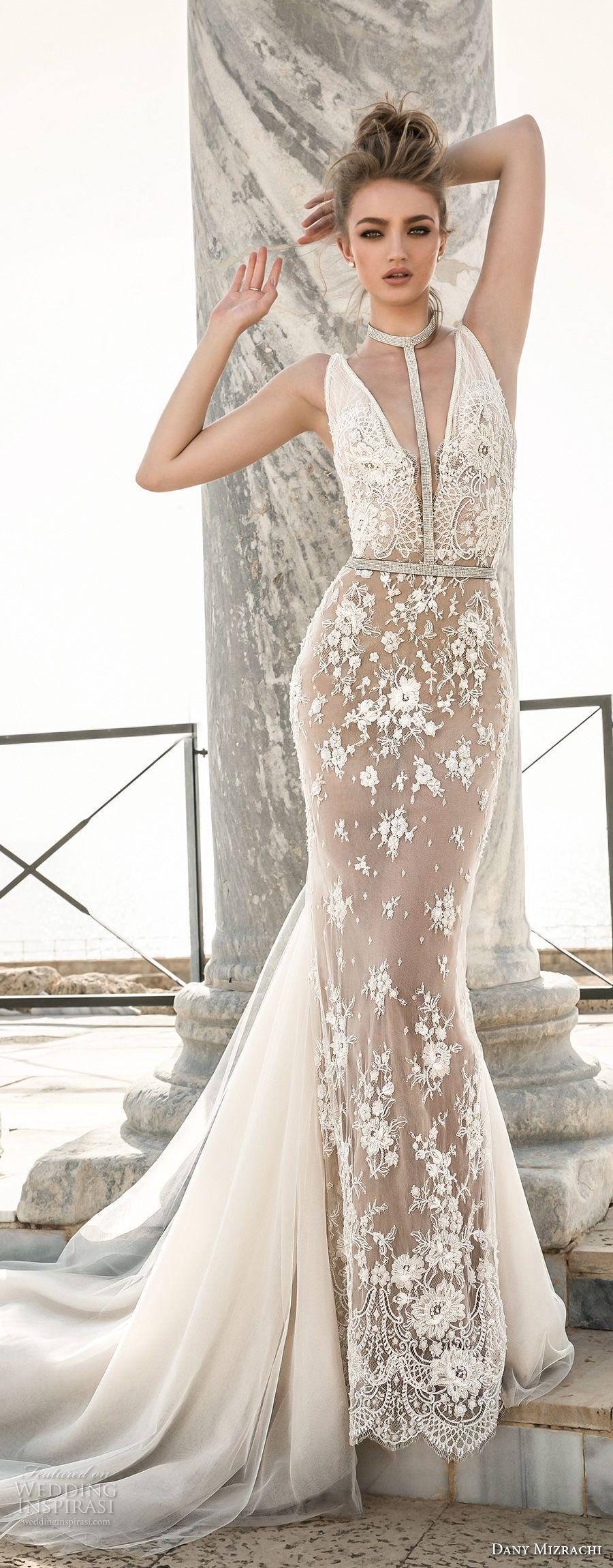 Dany mizrachi 2018 wedding dresses chapel train for Deep back wedding dress