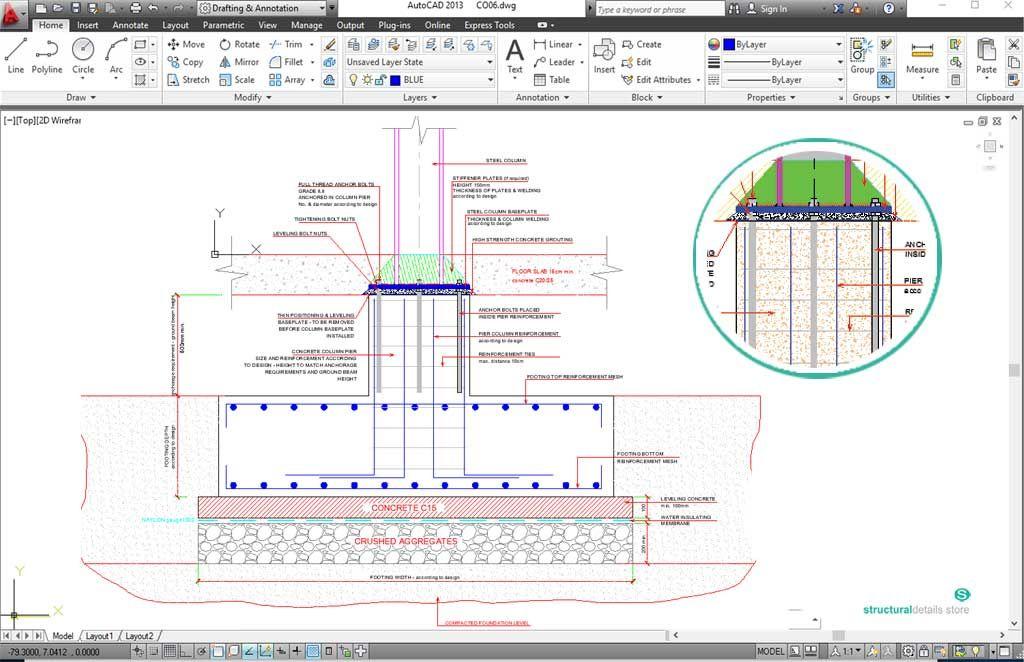 Steel Column Footing Foundation Detail Steel Columns Footing Foundation Concrete Footings