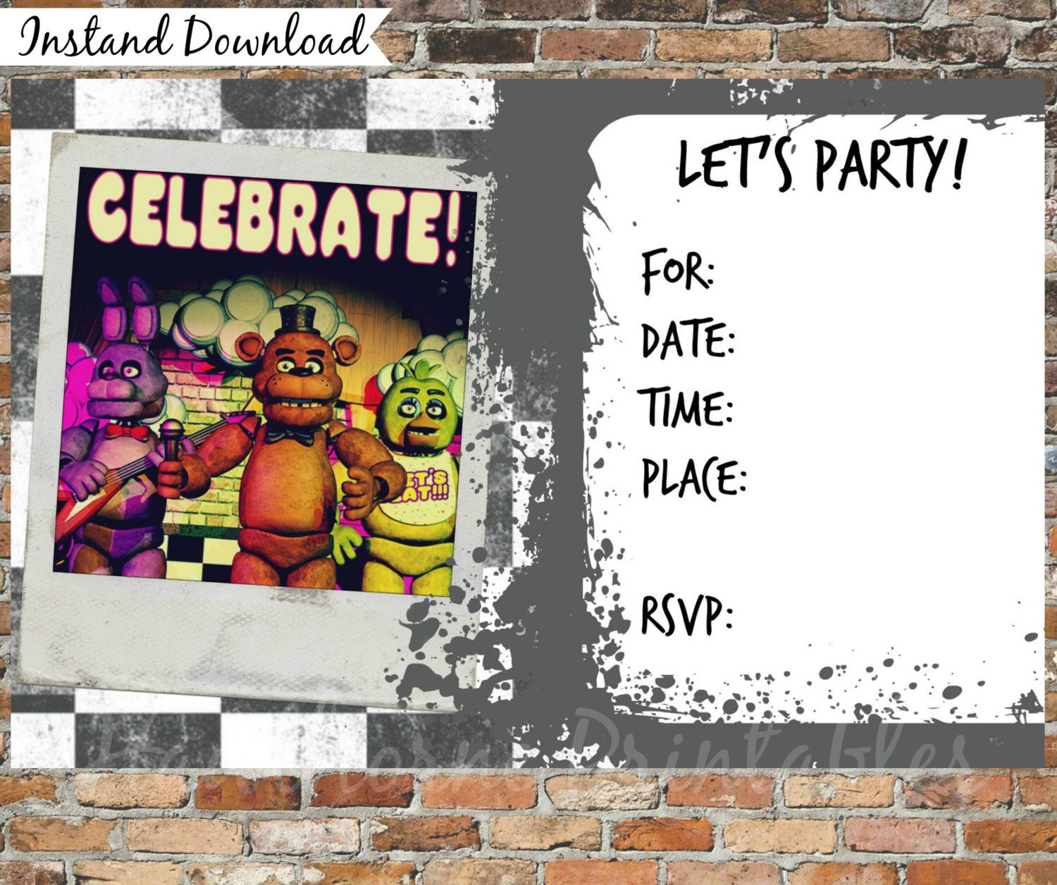 Five Nights At Freddys Invitations And Thank You Cards Printable By HawthornePrintables On Etsy
