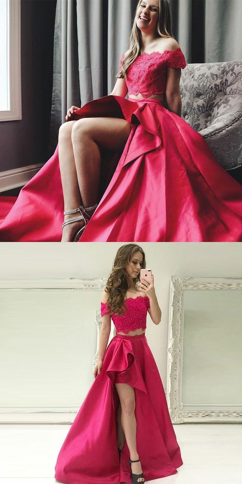 Unique fuchsia pieces prom party dresses with lace fashion