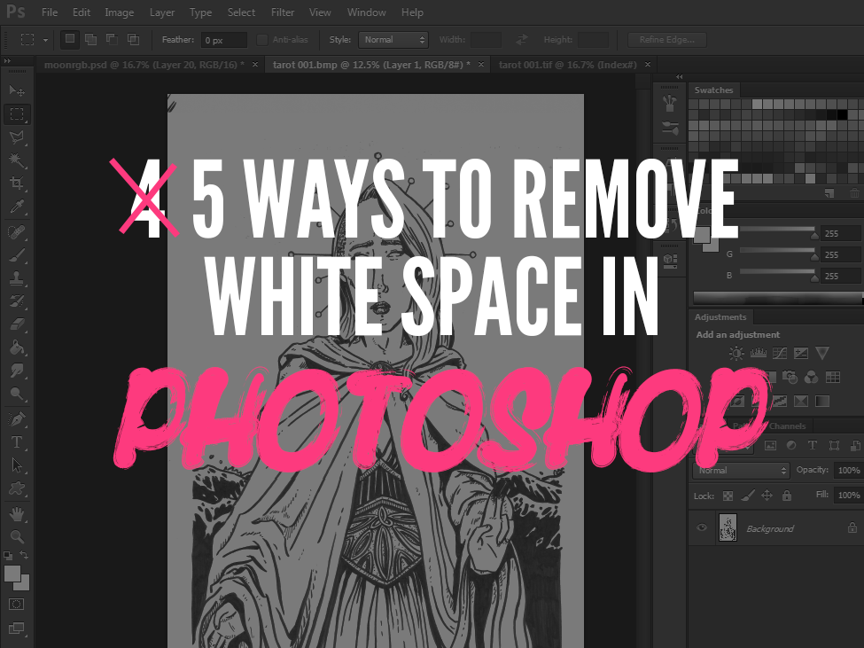 If you ink your work by hand but colour digitally, removing the white space from behind your work can be a struggle. Here are 4 ways to make it easier.