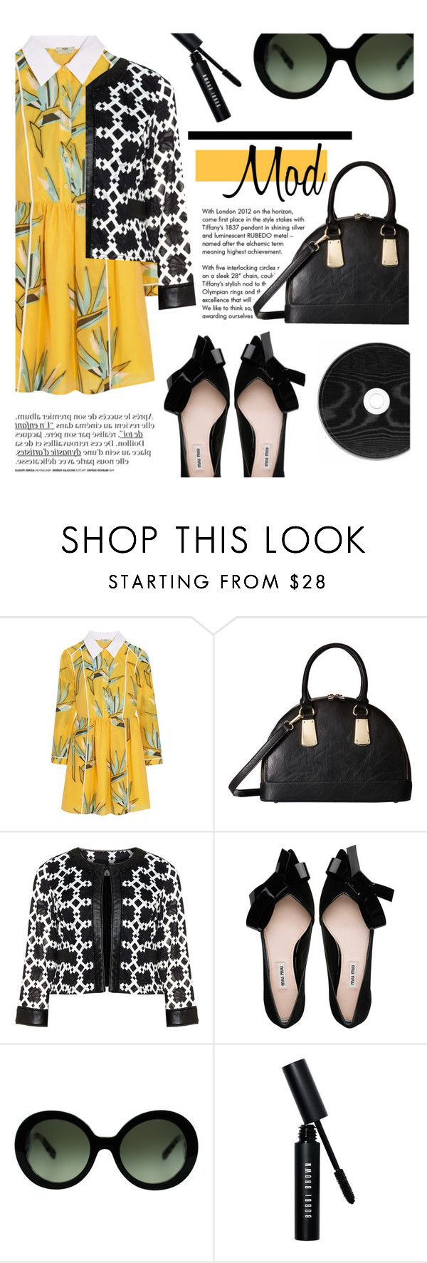 """Mod"" by sofiasolfieri ❤ liked on Polyvore featuring Tiffany & Co., Fendi, Gabriella Rocha, Tia, Prada, Bobbi Brown Cosmetics, vintage, prints, leatherjacket and VintageInspired"