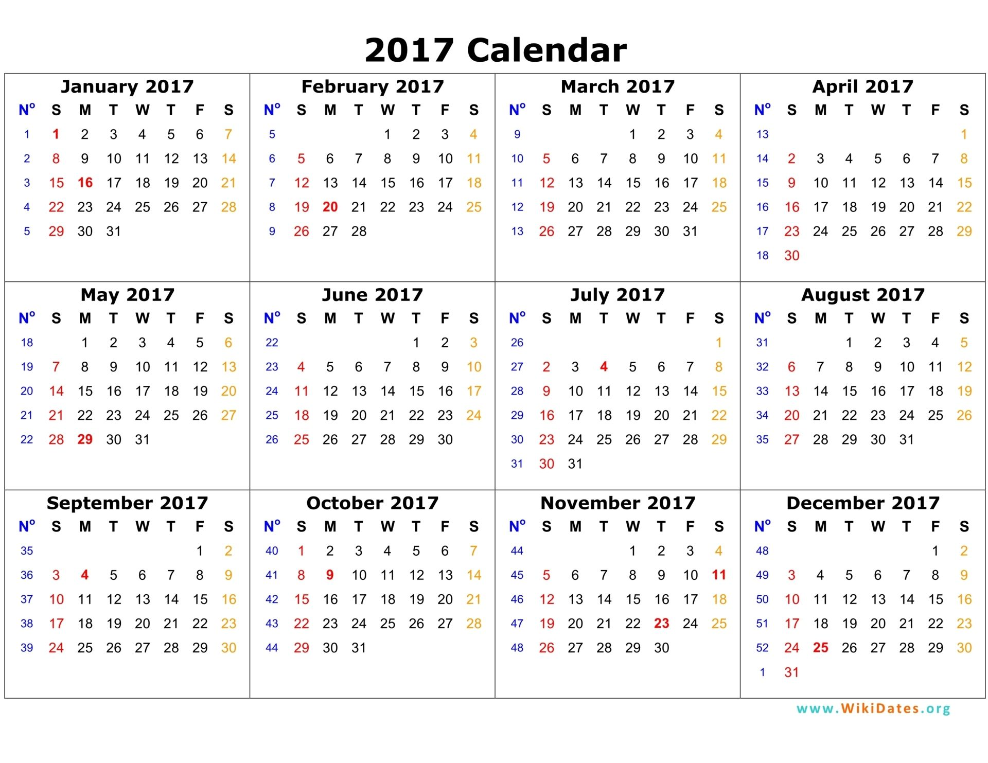 Printable Yearly 2017 Calendar With Twelwe Month Calendar 2017 On 1 Page,  With The Inclusion