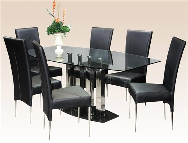 Cilla Glass Stainless Steel Dining Table Chintaly Imports