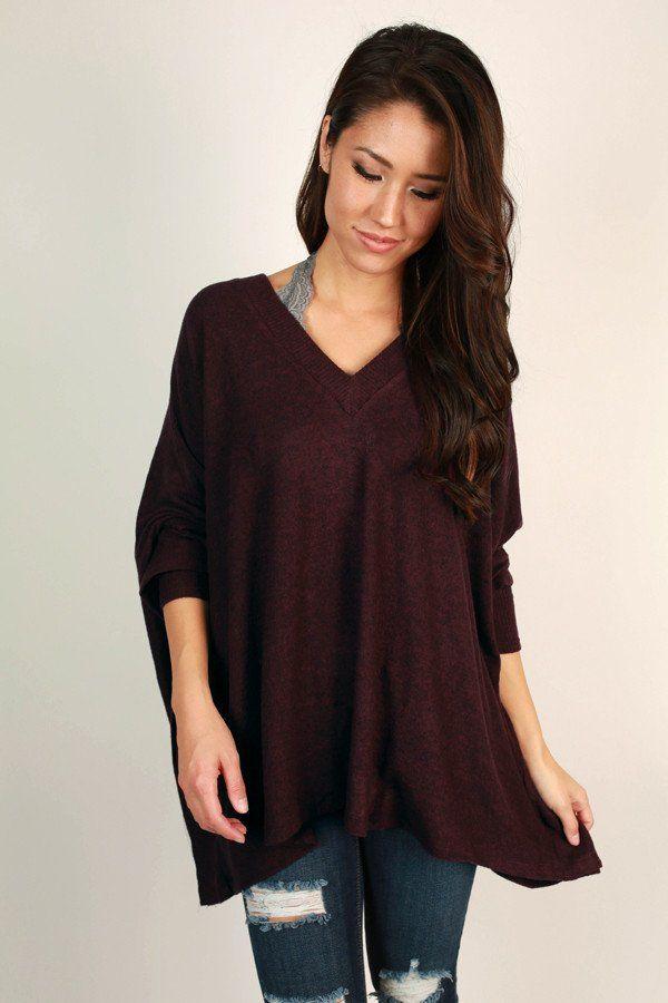 Sky's The Limit Tunic Sweater in Maroon | Tunic sweater, Tunics ...