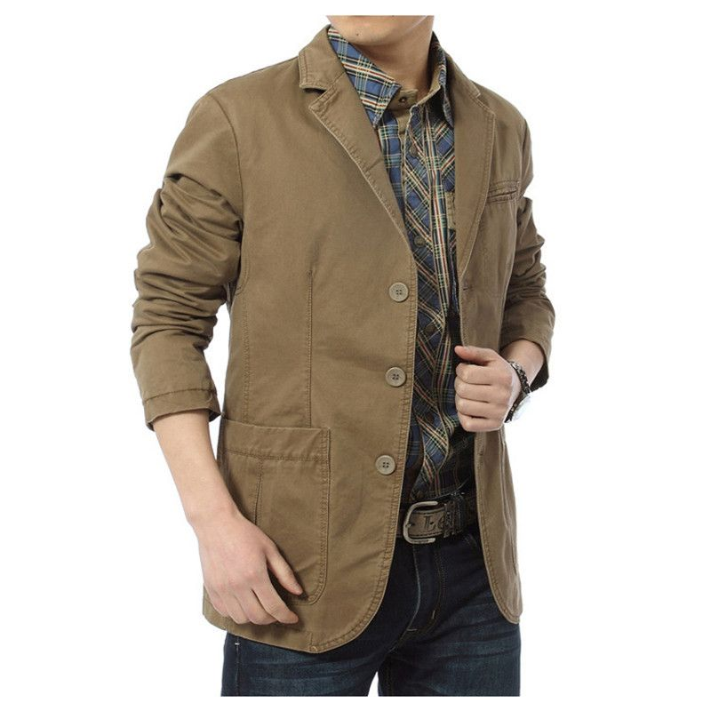 NIANJEEP New Autumn Men Casual Blazers Cotton Denim Parka Men's ...