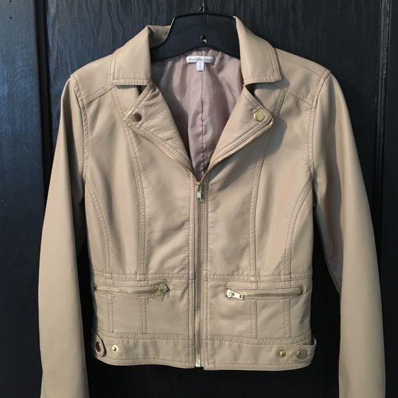 Khaki faux leather jacket Worn twice. Perfect condition great for cool spring weather and summer nights. Lined. Charlotte Russe Other