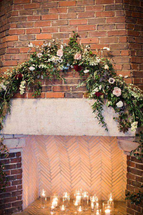 fireplace decor - photo by Photos by Heart http://ruffledblog.com/romantic-birmingham-villa-wedding