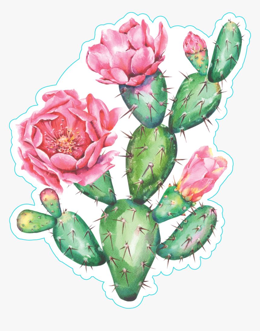 Large Print Prickly Pear Cactus Watercolor Print