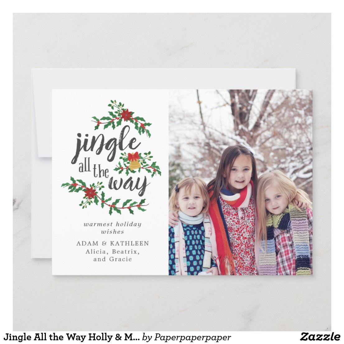 Jingle All The Way Holly Mistletoe Holiday Photo A Charming