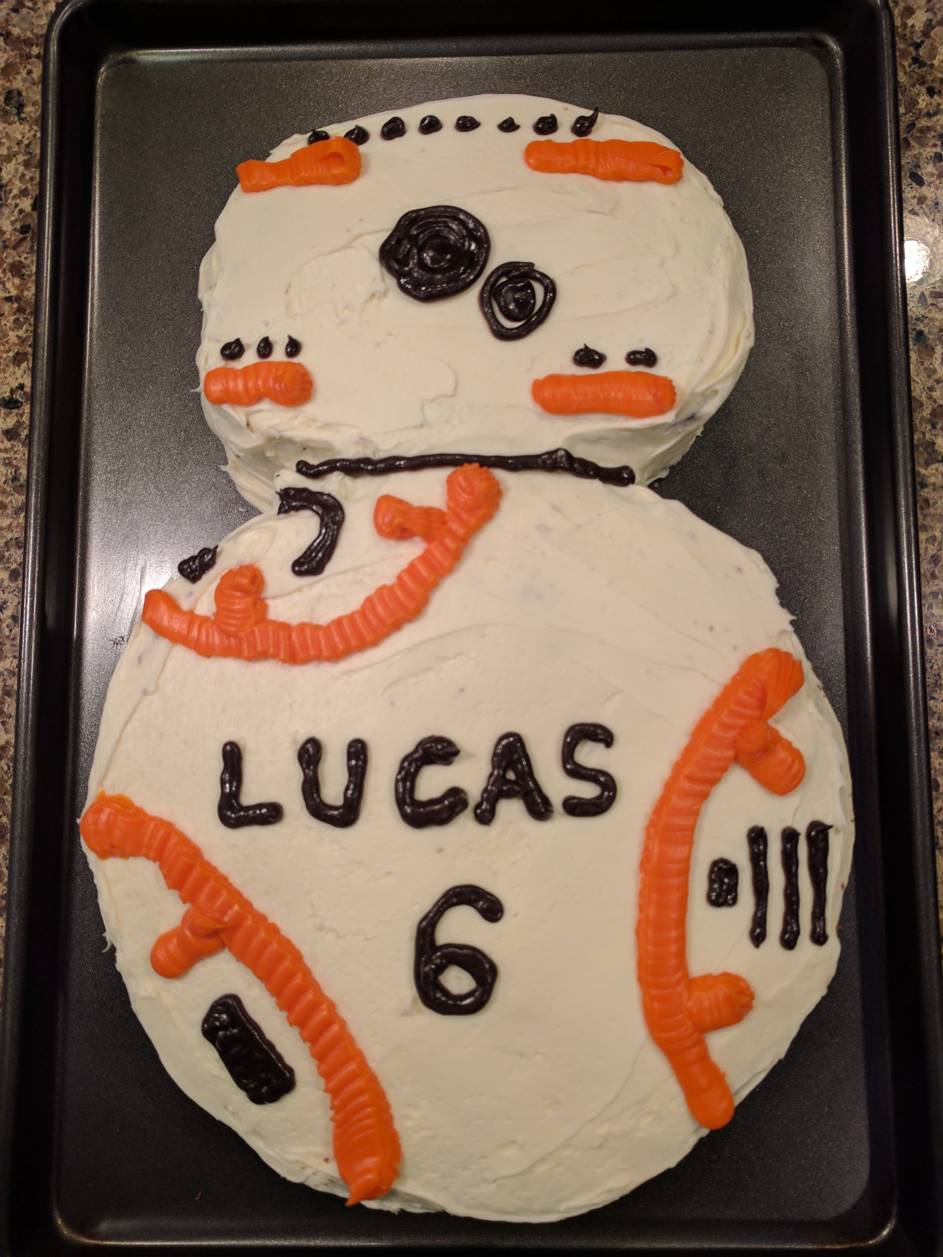 Bb8 cake two layers the bottom is just a standard round