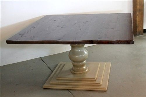 Square Farm Table With Tiered Pedestal Base Farmhouse Dining - Dining table pedestal base